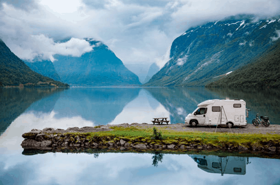 motorhome, nature, mountains