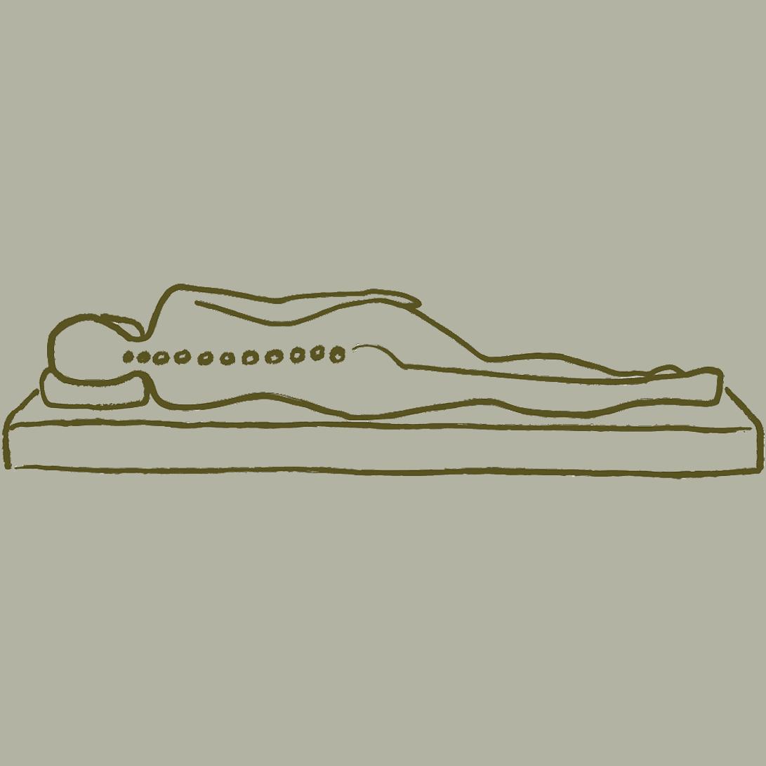 spine alignment sketch, natural mattress